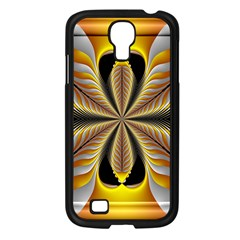 Fractal Yellow Butterfly In 3d Glass Frame Samsung Galaxy S4 I9500/ I9505 Case (Black)