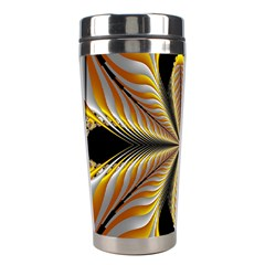 Fractal Yellow Butterfly In 3d Glass Frame Stainless Steel Travel Tumblers