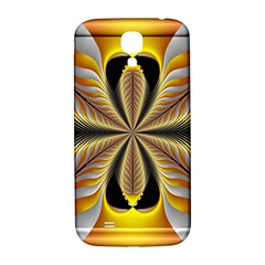 Fractal Yellow Butterfly In 3d Glass Frame Samsung Galaxy S4 I9500/I9505  Hardshell Back Case