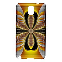 Fractal Yellow Butterfly In 3d Glass Frame Samsung Galaxy Note 3 N9005 Hardshell Case