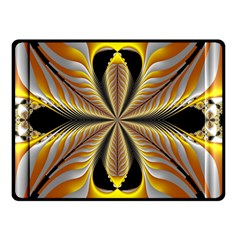 Fractal Yellow Butterfly In 3d Glass Frame Double Sided Fleece Blanket (small)