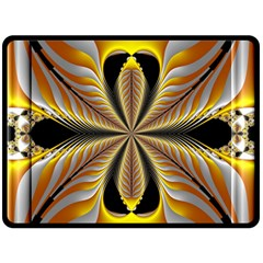 Fractal Yellow Butterfly In 3d Glass Frame Double Sided Fleece Blanket (large)