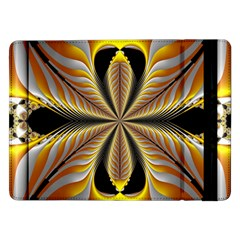 Fractal Yellow Butterfly In 3d Glass Frame Samsung Galaxy Tab Pro 12 2  Flip Case