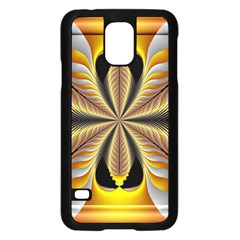 Fractal Yellow Butterfly In 3d Glass Frame Samsung Galaxy S5 Case (black)