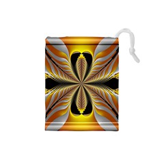 Fractal Yellow Butterfly In 3d Glass Frame Drawstring Pouches (small)