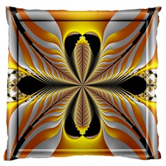 Fractal Yellow Butterfly In 3d Glass Frame Large Flano Cushion Case (Two Sides)