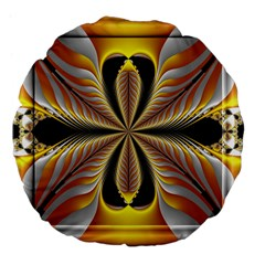 Fractal Yellow Butterfly In 3d Glass Frame Large 18  Premium Flano Round Cushions