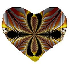 Fractal Yellow Butterfly In 3d Glass Frame Large 19  Premium Flano Heart Shape Cushions
