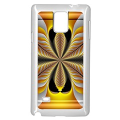 Fractal Yellow Butterfly In 3d Glass Frame Samsung Galaxy Note 4 Case (white)