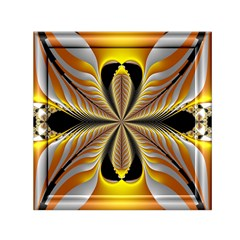 Fractal Yellow Butterfly In 3d Glass Frame Small Satin Scarf (square)