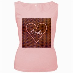 I Love You Love Background Women s Pink Tank Top