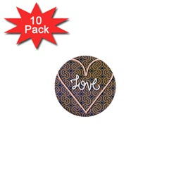 I Love You Love Background 1  Mini Buttons (10 Pack)