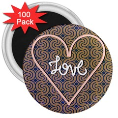 I Love You Love Background 3  Magnets (100 Pack)