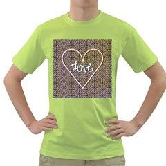 I Love You Love Background Green T Shirt