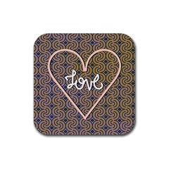 I Love You Love Background Rubber Coaster (square)