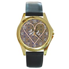 I Love You Love Background Round Gold Metal Watch