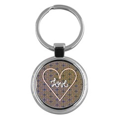 I Love You Love Background Key Chains (round)