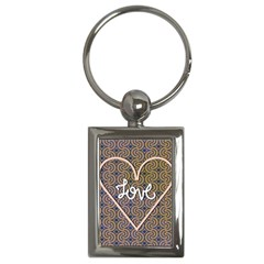 I Love You Love Background Key Chains (rectangle)