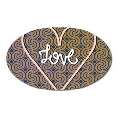 I Love You Love Background Oval Magnet