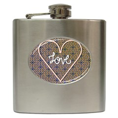 I Love You Love Background Hip Flask (6 oz)