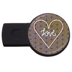 I Love You Love Background Usb Flash Drive Round (2 Gb)