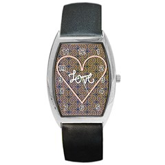 I Love You Love Background Barrel Style Metal Watch