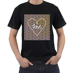I Love You Love Background Men s T Shirt (black) (two Sided)