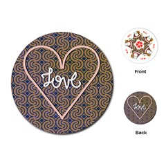 I Love You Love Background Playing Cards (round)