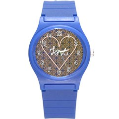 I Love You Love Background Round Plastic Sport Watch (S)