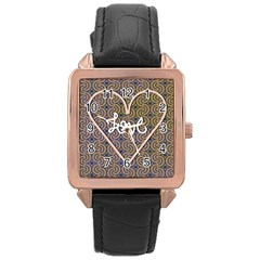 I Love You Love Background Rose Gold Leather Watch