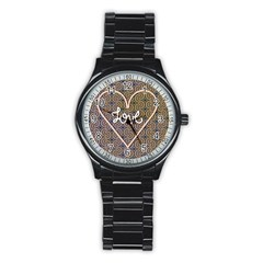 I Love You Love Background Stainless Steel Round Watch