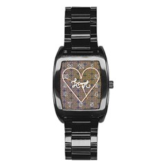 I Love You Love Background Stainless Steel Barrel Watch