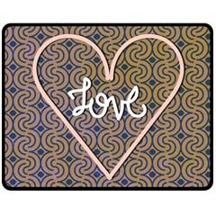 I Love You Love Background Double Sided Fleece Blanket (Medium)