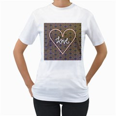 I Love You Love Background Women s T-Shirt (White)