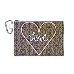 I Love You Love Background Canvas Cosmetic Bag (M)