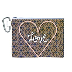 I Love You Love Background Canvas Cosmetic Bag (L)