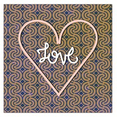 I Love You Love Background Large Satin Scarf (Square)