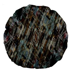 Abstract Chinese Background Created From Building Kaleidoscope Large 18  Premium Round Cushions