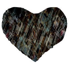 Abstract Chinese Background Created From Building Kaleidoscope Large 19  Premium Heart Shape Cushions