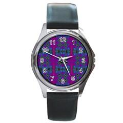 Purple Seamless Pattern Digital Computer Graphic Fractal Wallpaper Round Metal Watch