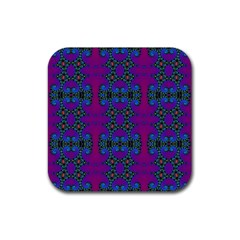 Purple Seamless Pattern Digital Computer Graphic Fractal Wallpaper Rubber Coaster (square)