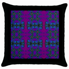 Purple Seamless Pattern Digital Computer Graphic Fractal Wallpaper Throw Pillow Case (black)