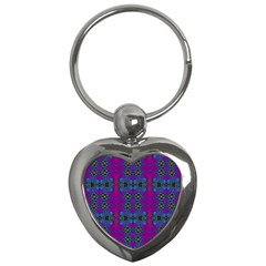 Purple Seamless Pattern Digital Computer Graphic Fractal Wallpaper Key Chains (Heart)