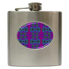 Purple Seamless Pattern Digital Computer Graphic Fractal Wallpaper Hip Flask (6 oz)