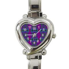 Purple Seamless Pattern Digital Computer Graphic Fractal Wallpaper Heart Italian Charm Watch