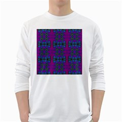 Purple Seamless Pattern Digital Computer Graphic Fractal Wallpaper White Long Sleeve T Shirts