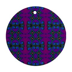 Purple Seamless Pattern Digital Computer Graphic Fractal Wallpaper Round Ornament (Two Sides)