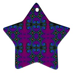 Purple Seamless Pattern Digital Computer Graphic Fractal Wallpaper Star Ornament (two Sides)