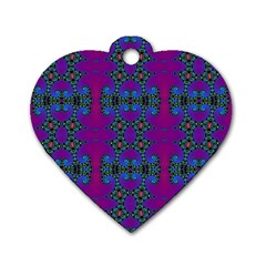 Purple Seamless Pattern Digital Computer Graphic Fractal Wallpaper Dog Tag Heart (one Side)