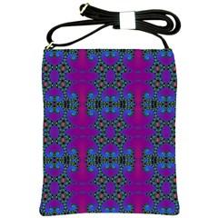 Purple Seamless Pattern Digital Computer Graphic Fractal Wallpaper Shoulder Sling Bags
